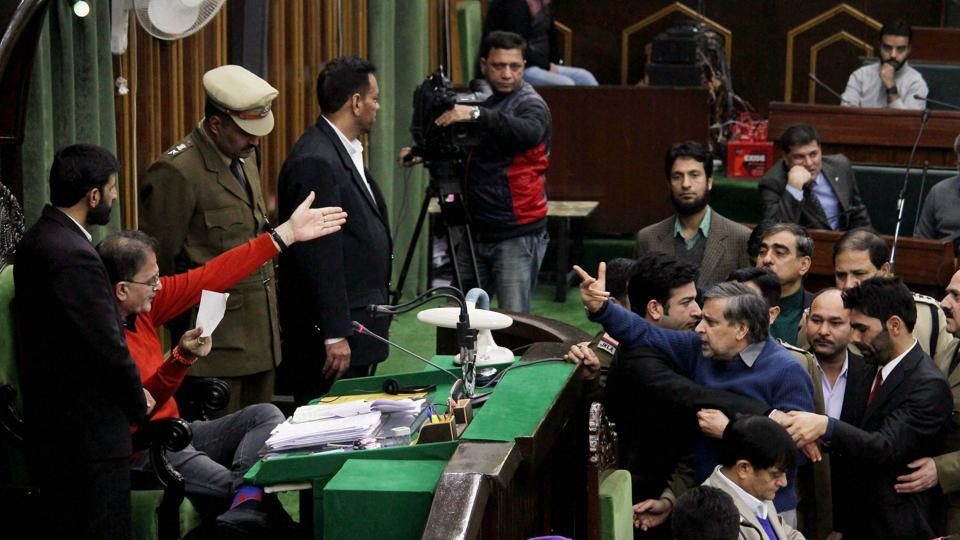 Protests and sloganeering over CM Mehbooba Mufti's comment on Article 370 forced the Speaker to adjourn the House for 15 minutes.