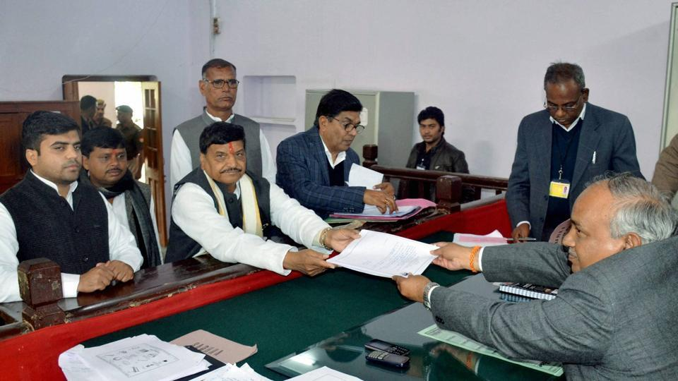 Senior SP leader Shivpal Singh Yadav file his nomination papers from Jaswantnagar seat for the UP assembly election in Etawah on Tuesday.