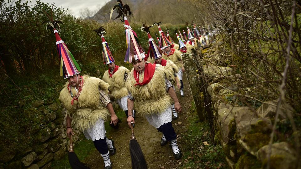 A group of Joaldunaks take part in the carnival.  (AP photo)