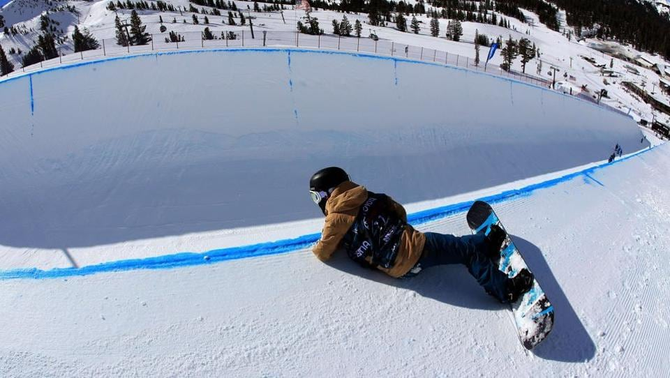 Ayumu Nedefuji of Japan looks into the halfpipe during a practice run. (Sean M. Haffey/Getty Images / AFP)