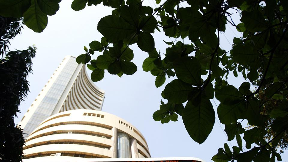The Bombay Stock Exchange building. Shares were volatile ahead of the Union Budget presentation