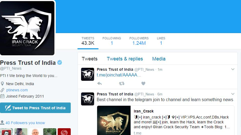 Iran Crack Security Team',Press Trust of India,Twitter account hacked