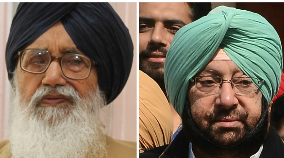 Punjab chief minister Parkash Singh Badal and (left) Punjab Congress chief Captain Amarinder Singh.