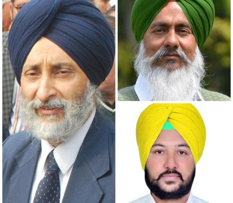 (clockwise from left) Adaish Partap Singh Kairon (SAD), Harminder Singh Gill (Congress) and Ranjit Singh Cheema (AAP).