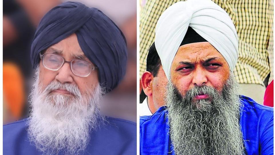 Punjab chief minister ParkashSinghBadal and (left) AAP's Lambi candidate Jarnail Singh