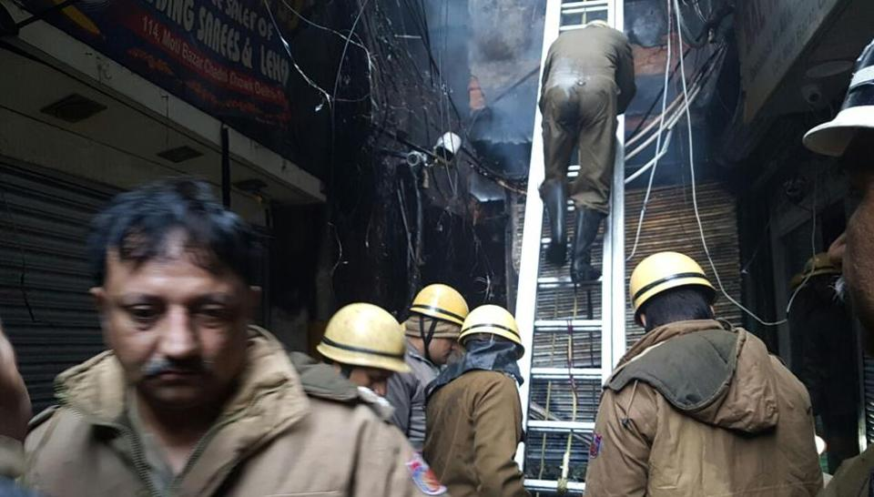 More than two dozen fire tenders were required to control the blaze in Moti Bagh market.