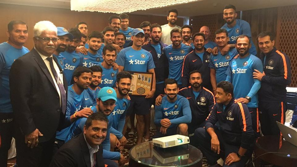 MS Dhoni was feted by the Indian cricket team ahead of Wednesday's T20 international against England at Bangalore's Chinnaswamy Stadium. He hit 56 off 36 balls  to power India cricket team to 202/5 in 20 overs in the match. Yuvzendra Chahal then took six wickets to seal the match and the three-match T20I series for the hosts.