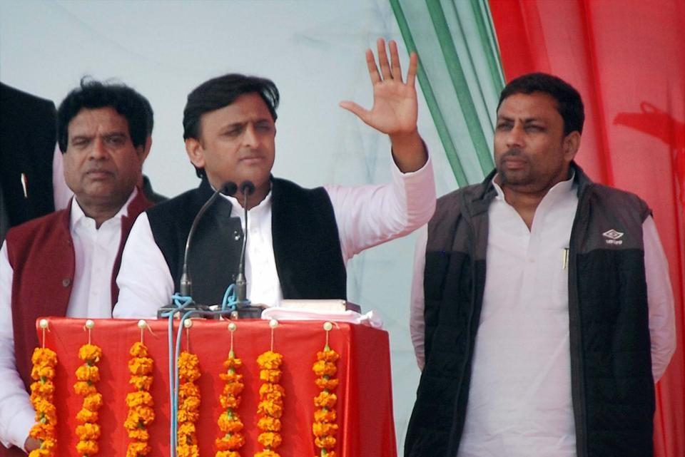 Uttar Pradesh CM Akhilesh Yadav addresses a rally at Masuri in Ghaziabad on Wednesday.