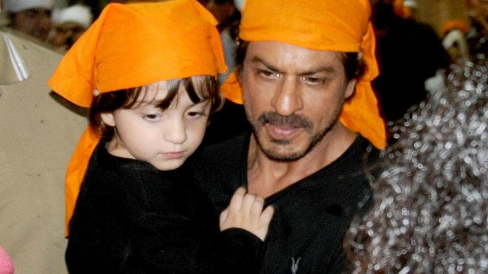 Shah Rukh Khan and AbRam at the Golden Temple. (IANS)