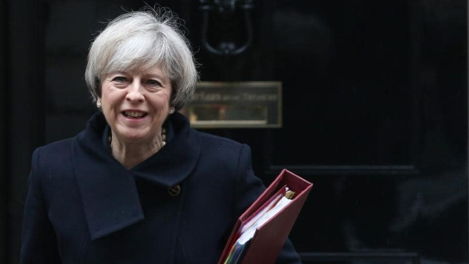Britain's Prime Minister Theresa May leaves 10 Downing Street in London on Wednesday.