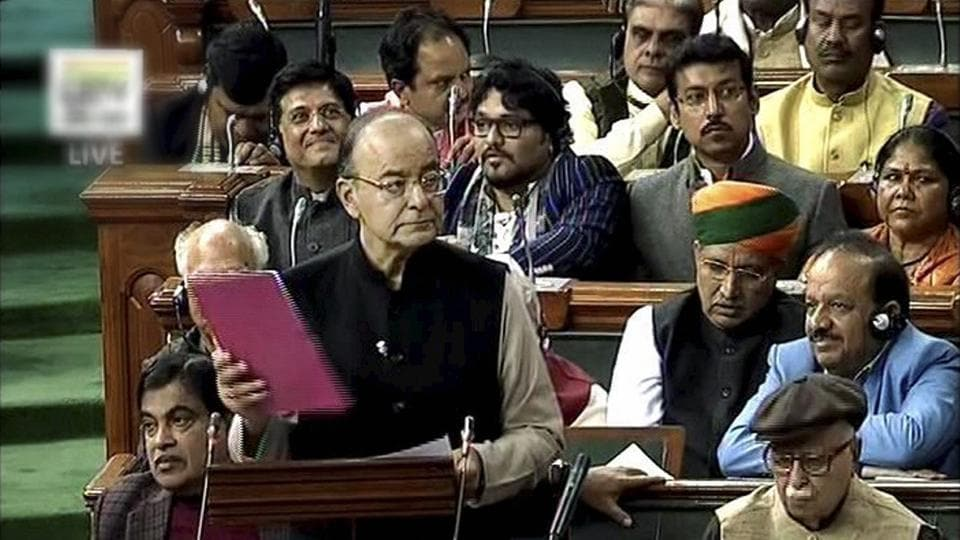 Union finance minister Arun Jaitley presents the Union Budget 2017-18 in Lok Sabha on Wednesday. (PTI Photo / TV Grab )