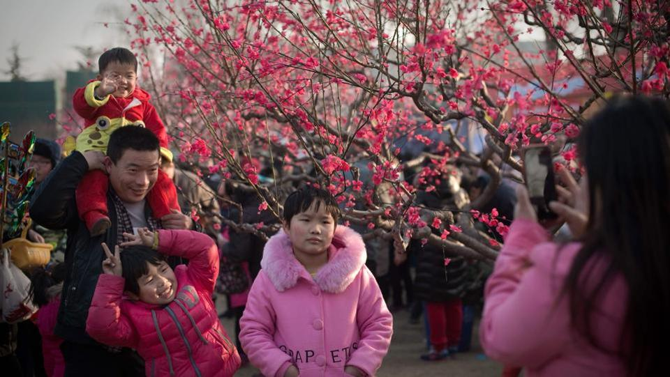 People pose for a photo in a park next to a real tree decorated with fake plastic flowers at a Spring Festival fair in Beijing.  The festival usually falls on the first day of the lunar month,  one month after the Gregorian calendar. (Nicolas ASFOURI / AFP)