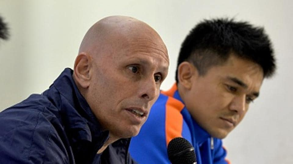Indian football team coach Stephen Constantine said the side, led by Sunil Chhetri (R), has a great chance to advance from Group A of the 2019 AFCAsian Cup  qualifiers.