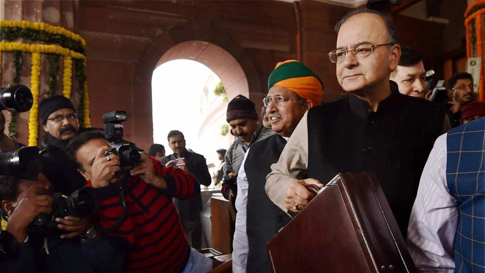 Finance minister Arun Jaitley arrives in Parliament to present the Union Budget for 2017-18, in New Delhi.