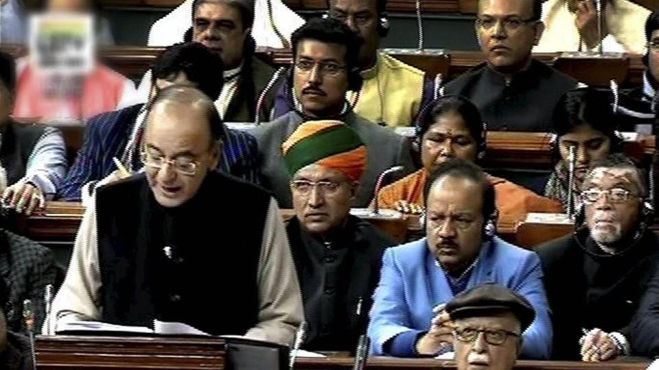 Finance minister Arun Jaitley tabling the Union Budget for 2017-18 in the Parliament in New Delhi on Wednesday.