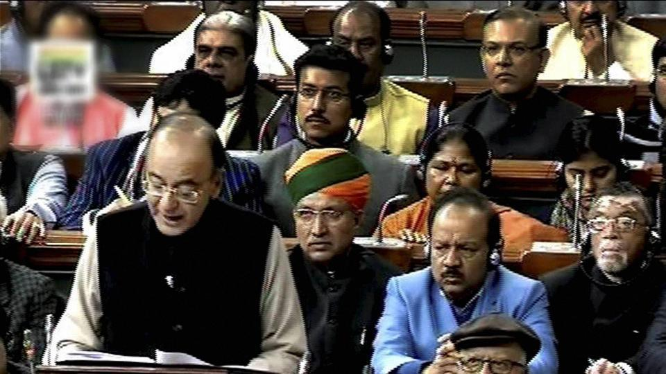 Finance minister Arun Jaitley presents the Union Budget for 2017-18 in the Parliament in New Delhi.