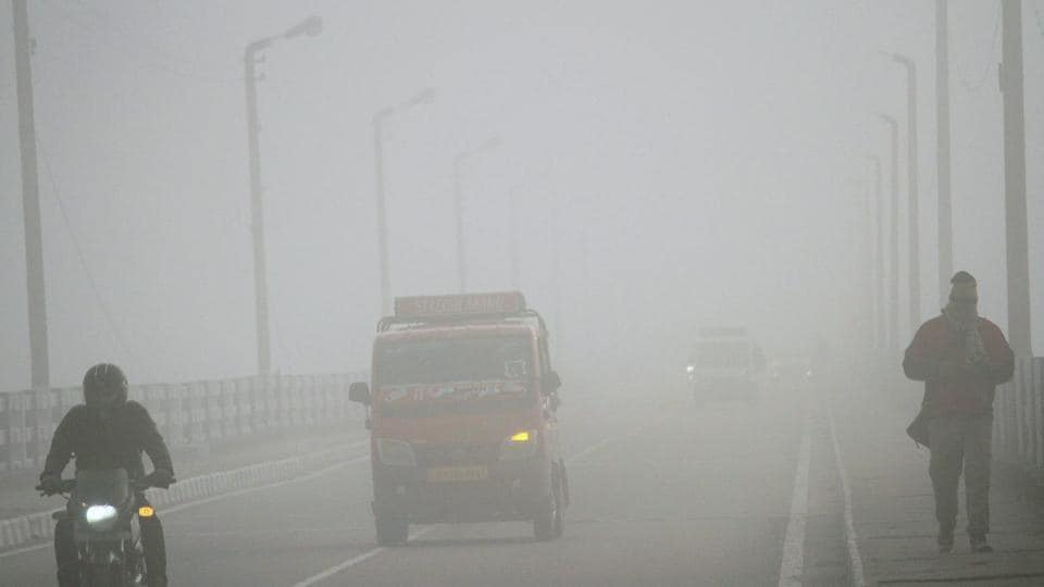 A state-run bus hit a jeep near here due to poor visibility because of dense fog.
