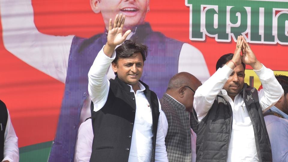 Akhilesh Yadav held an election rally in the Muslim dominated area of Masuri in Ghaziabad.