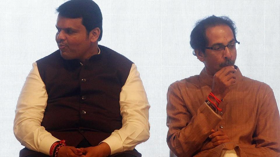 Maharashtra CM  Devendra Fadnavis and Shiv Sena chief Uddhav Thackeray at an event.