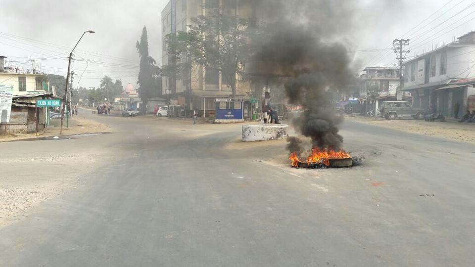 Tyres burnt by protestors in Dimapur.