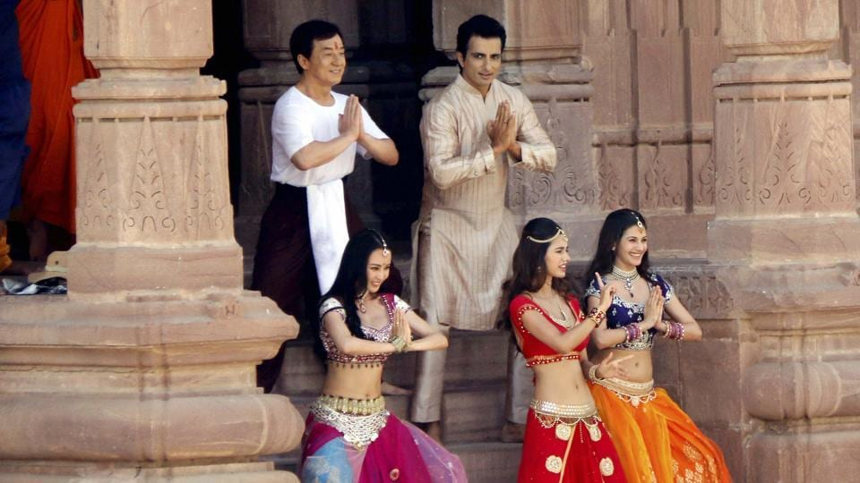 Jackie Chan with actress Disha Patni and actor Sonu Sood shooting for film Kung Fu Yoga in Jodhpur's Mandore Gardens.