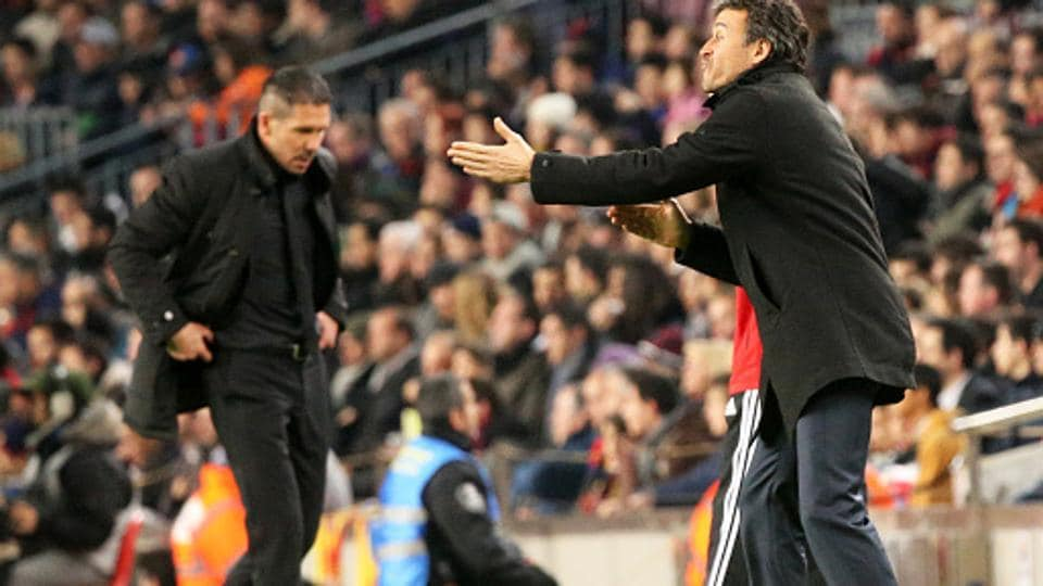 Atletico Madrid coach Diego Simeone and FC Barcelona boss Luis Enrique, both considered tactical geniuses, will try various tricks in their book to gain advantage when they clubs meet in the Copa del Rey (King's Cup) semifinal (leg 1) match.