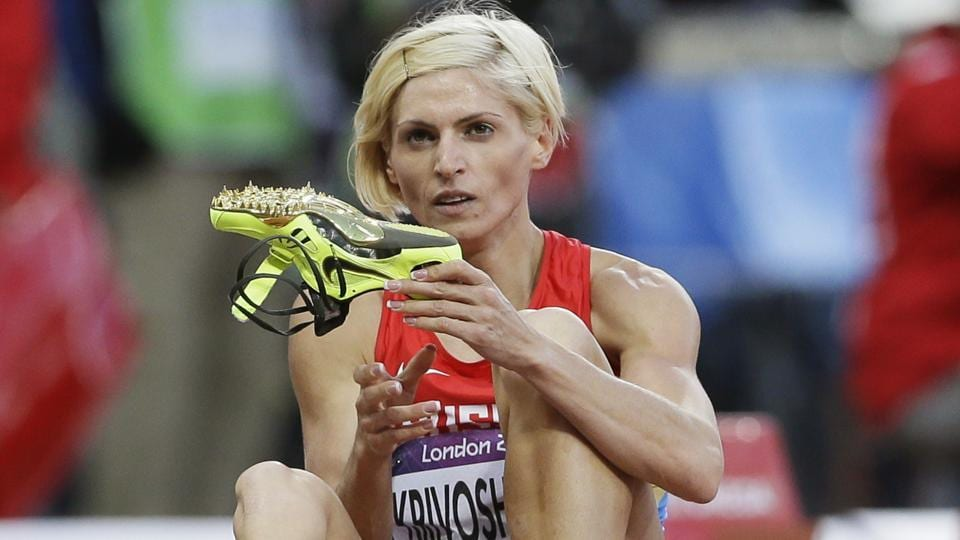 Russia's Antonina Krivoshapka at the Olympic Stadium during the 2012 Olympics in London.