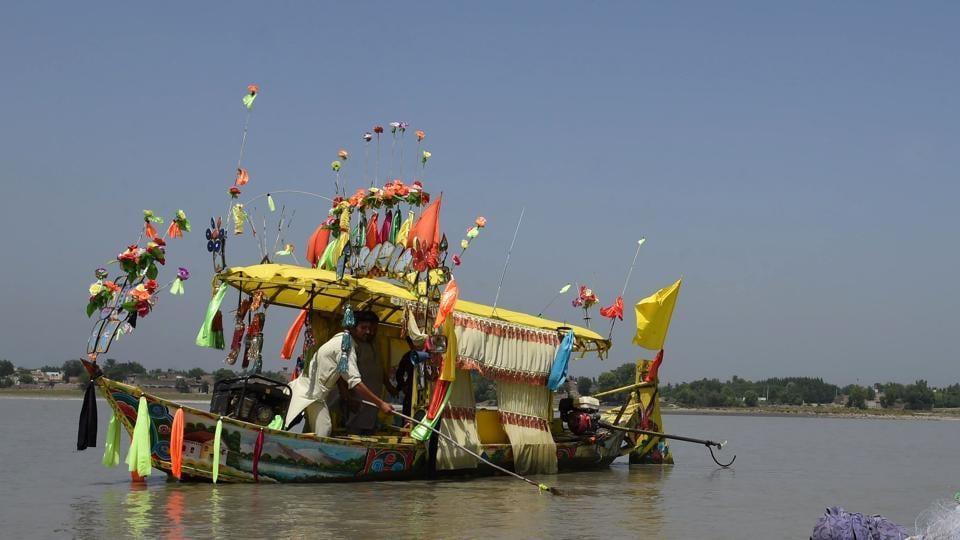 A colourful Pakistani fishing boat.
