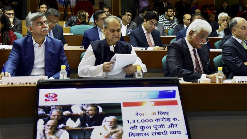 Industrialists Rahul Bajaj, SK Munjal, Rakesh Bharti Mittal, Naushad Forbesa and others during the live screening of the Union Budget 2017-18 presentation organised by CII in New Delhi.