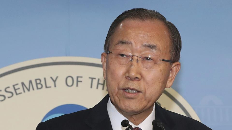 Former UN secretary-general Ban Ki-moon speaks during a press conference at the National Assembly in Seoul, South Korea on Wednesday.