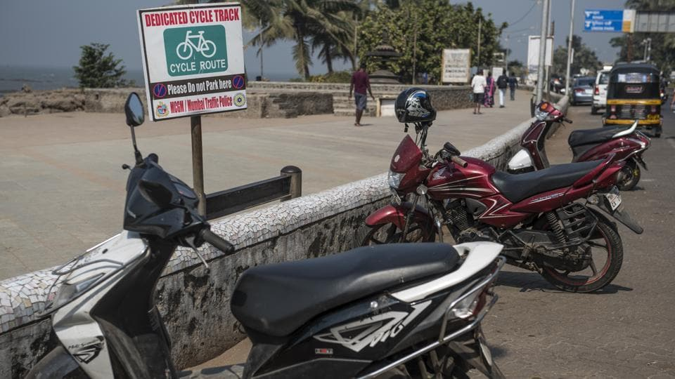 Vehicles parked on the dedicated cycling track at Carter Road, Bandra, on Tuesday.