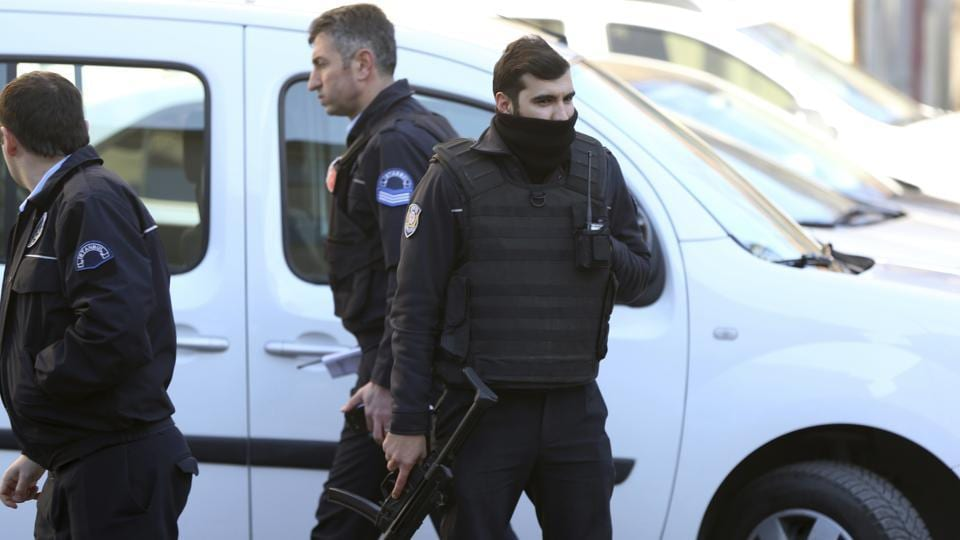 Armed police officers stand outside Istanbul's Cerrahpasa hospital, Wednesday Feb. 1, 2017.