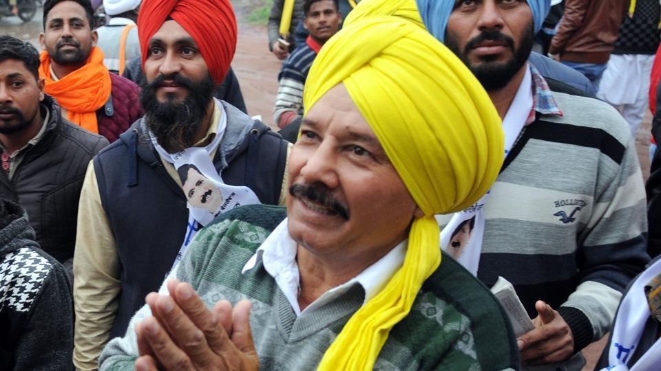 AAP's Kartar Singh campaigning in Tarn Taran.