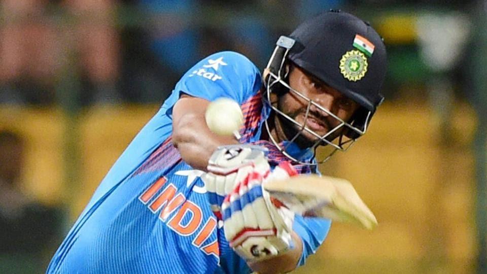 Suresh Raina plays a shot during the third T20 between India and England at Chinnaswamy Stadium in Bengaluru on Wednesday.