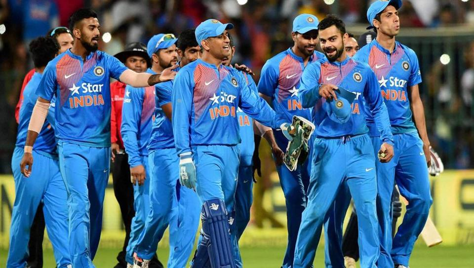 Indian cricket team captain Virat Kohli talks to former skipper Mahendra Singh Dhoni after beating England by 75 runs in the third and final T20 match at Bangalore's Chinnaswamy Stadium on Wednesday night. India won the series 2-1
