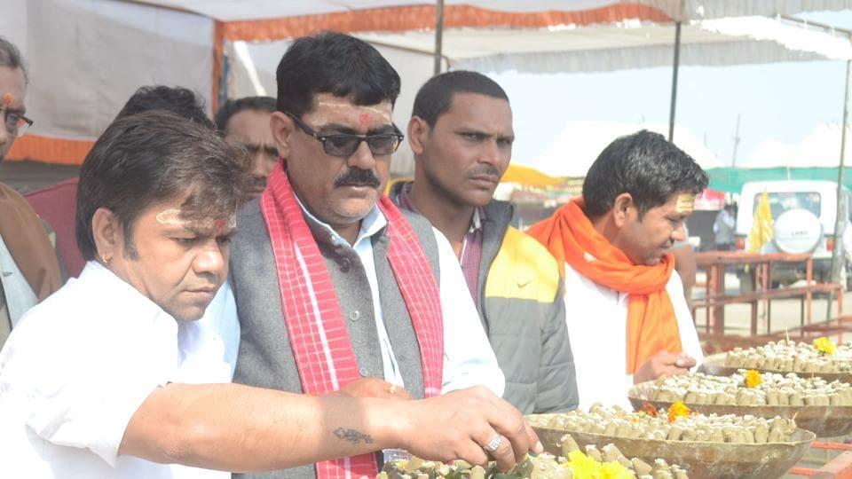 Actor Rajpal Yadav at Magh Mela in Allahabad.