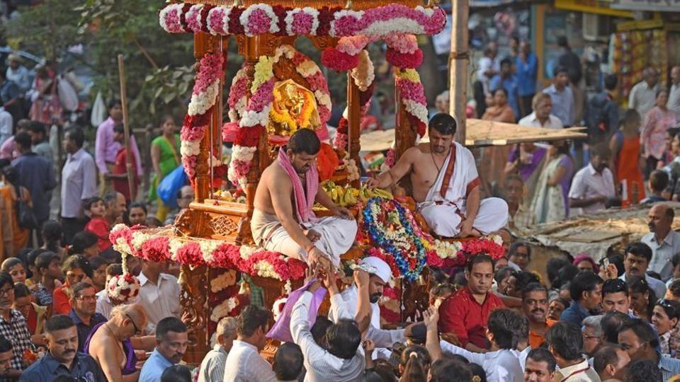The Siddhivinayak Rath yatra for Ganesh Jayanti in Dadar, Mumbai, on Tuesday.