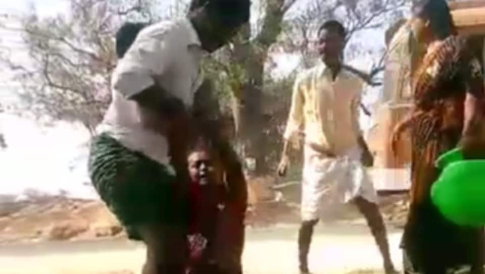 The video showed Nagaraju and the two men thrashing the woman who is a widow.