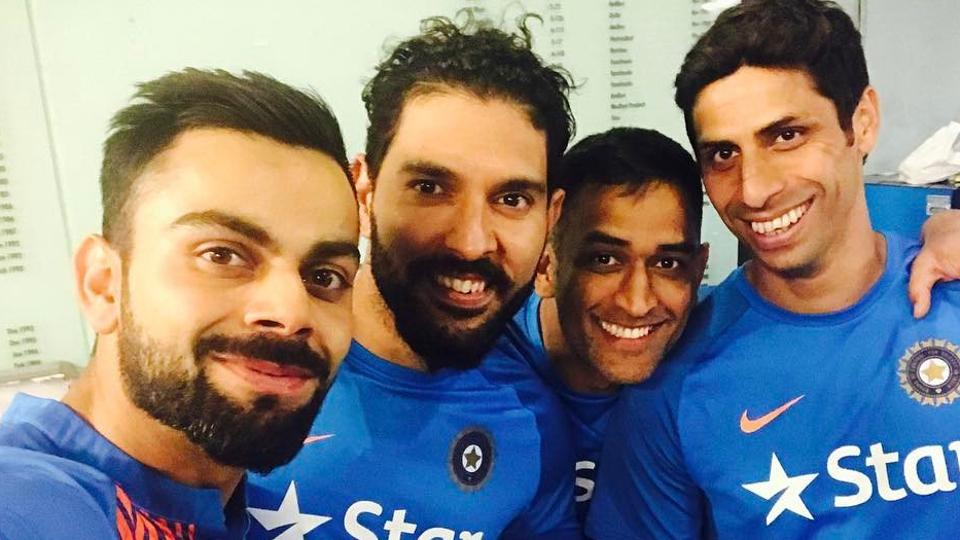 Virat Kohli in great mood with Yuvraj Singh, MSDhoni and Ashish Nehra after the Indian cricket team won the T20 series 2-1 against England in Bangalore on Wednesday.