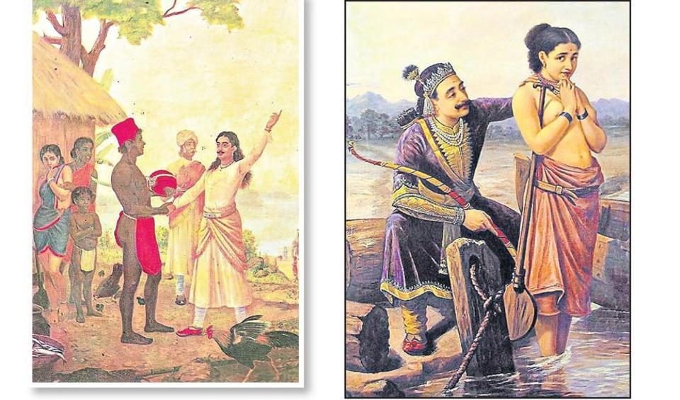 (From left) A Raja Ravi Varma painting where Bhishma pledges to be celibate before Satyavati; A Raja Ravi Verma painting where Shantanu is shown wooing Satyavati