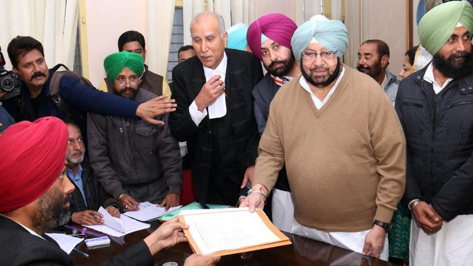 Captain Amarinder Singh filing his nomination papers from Lambi against Parkash Singh Badal.