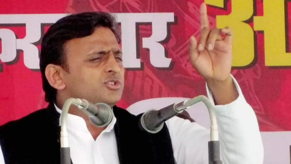 UP chief minister and Samajwadi Party president Akhilesh Yadav addresses an election rally in Muzaffarnagar on Thursday.