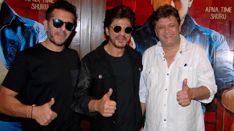 Shah Rukh Khan (c) with film's director Rahul Dholakia (left) and film's producer Ritesh Sidhwani (right) at a promotional event. (IANS)