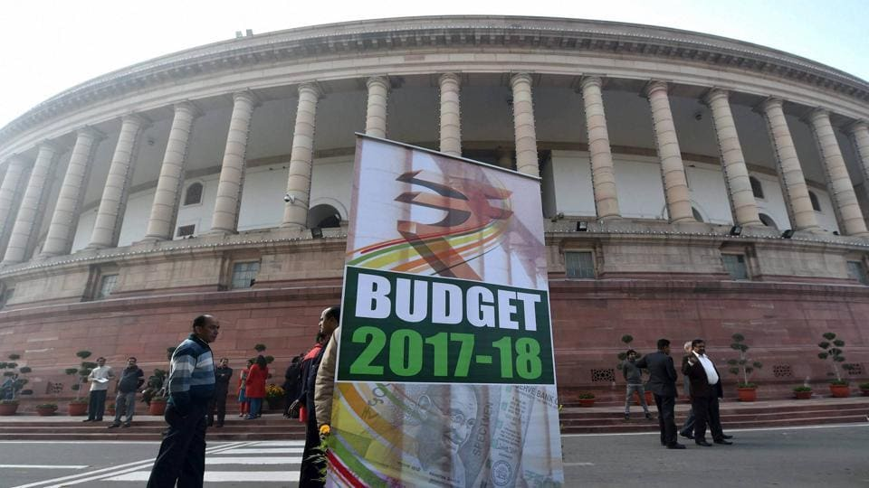 A hoarding put up at Parliament House in New Delhi on the day of budget presentation on Wednesday.