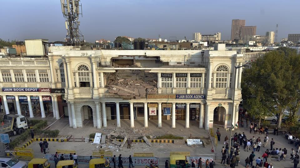 Connaught place building collapse,CP restoration,NDMC