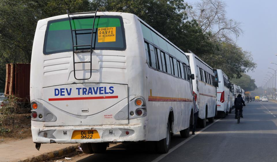 Gurgaon schools are under fire for hiring private buses from contractors to ferry students.