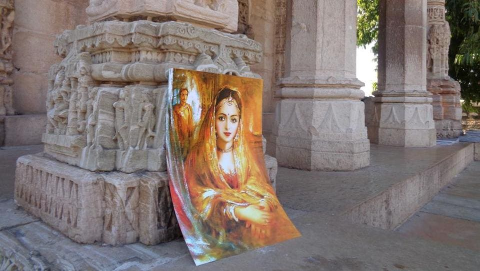 An artist's impression of  Padmavati being sold to tourists at Chittorgarh Fort.