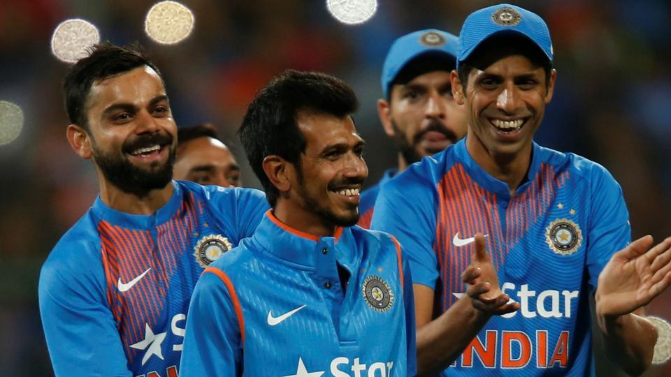 India cricket team skipper Virat Kohli and players applaud Yuzvendra Chahal (centre)  after his Man-of-the-Match performance in the third T20I vs England cricket team in Bengaluru on Wednesday.