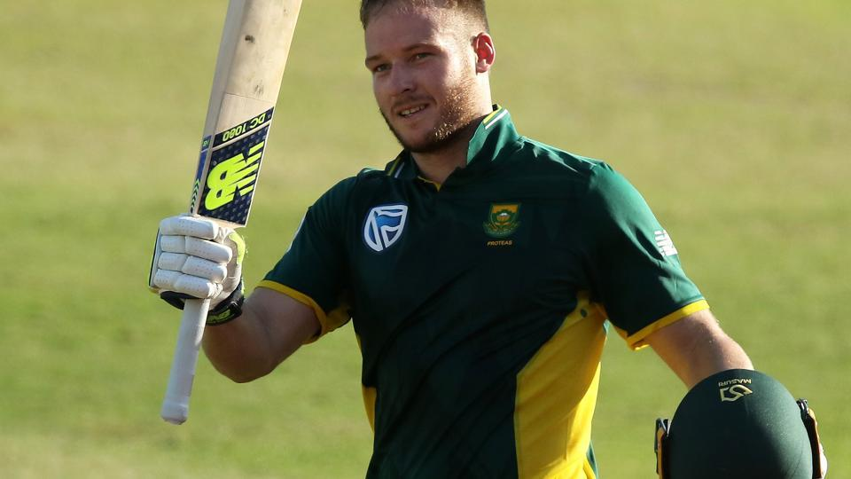 South Africa cricket team's David Miller celebrates his ton during the second ODI against Sri Lanka cricket team at Kingsmead cricket ground on Wednesday. Miller and Faf du Plessis scored centuries to help the hosts post a massive 307/6 in 50 overs