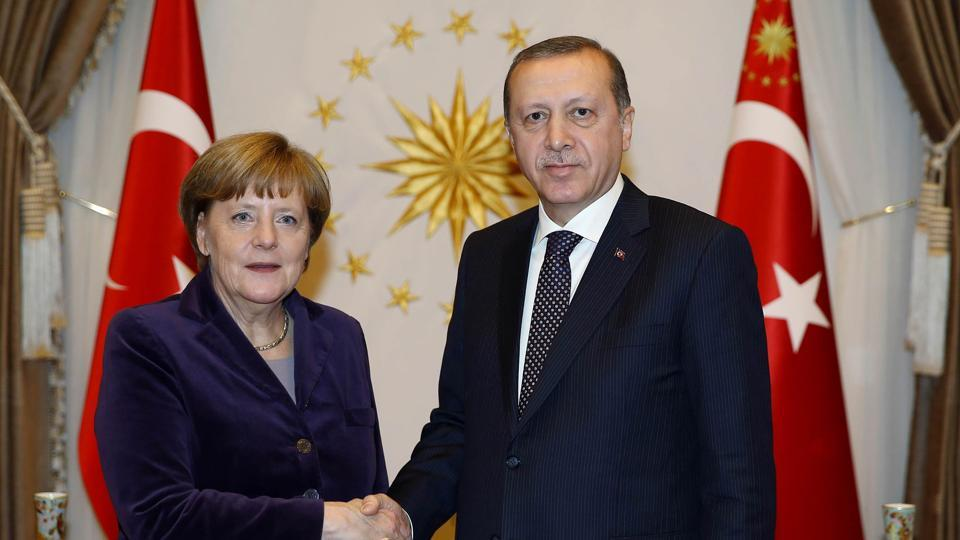 President of Turkey Recep Tayyip Erdogan (R) and German chancellor Angela Merkel in Ankara last year.